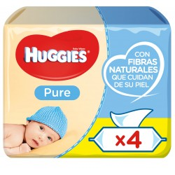 Toallitas HUGGIES Pure pack 4 envases 56 unidades (224 uds)