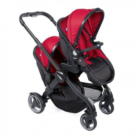 Coche de paseo dúo Chicco Fully Twin Red Stone gris