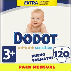 Pack 120 uds. Extra T3 Pañales Dodot Sensitive ( 7 a 11 kg )
