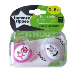 CHUPETES SILICONA CLOSER TO NATURE FUN 0-6M 2 UDS. TOMMEE TIPPEE