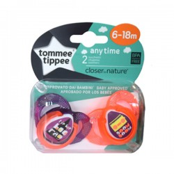 CHUPETES SILICONA CLOSER TO NATURE ANY TIME 6-18M 2 UDS. TOMMEE TIPPEE