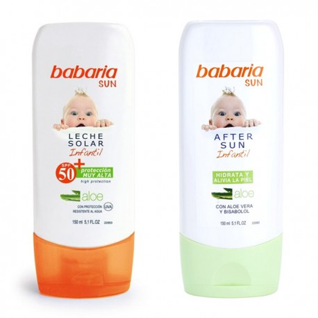 LECHE SOLAR INFANTIL F-50+ 150ml. + AFTER SUN IFANTIL BABARIA 150ml.